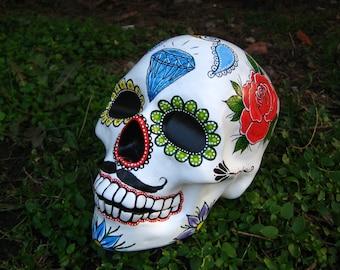 Sugar Skull, Day of the Dead, Mexican Skull, Calavera, Handpainted, Ceramic Skull, Diamond, Rose, Swirls, Flowers, Folk Art, MADE TO ORDER