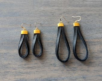 Glove Leather Earrings- Black/Gold