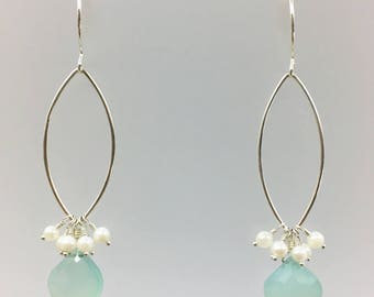 Sterling earrings, Sterling silver, Drop, Dangles, Chalcedony bead, Pearls, Sterling ear wires, Brides maids, Wedding,Hand made, USA made