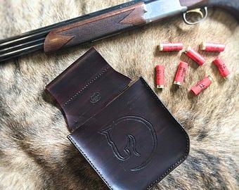 Handmade Leather Shooting Pouch - Dark Brown Shotgun Shell Bag Shot Shell Pouch Trap Shooting Pouch Skeet Shooting Bag Sporting Clays Pouch
