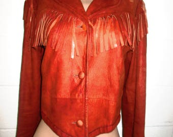 Marquis of london soft suede fringe jacket size small