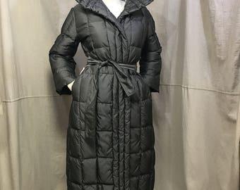 Bill Blass Puffer Coat Long // Vintage Puffy Coat Women's Small Medium Gray Down Winter Coat
