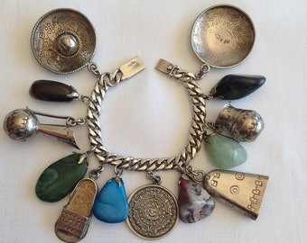 Vintage 925 Silver Charm Bracelet Made in Mexico