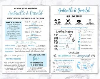 Printable Infographic Wedding Program, Unique Wedding Program, Fun Program, Modern Program, Entertaining, Fun Facts, Hashtag, MB199
