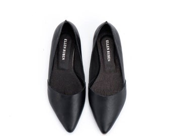 Handmade Leather Shoes / Black Women's Shoes / Flat Shoes / Pointed Toe Flat Shoe / Slip On Shoe / Summer Shoes / Evening Shoes - Barcelona