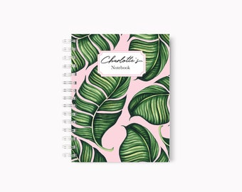 Tropical notebook, Tropical journal, Tropical diary, Tropical leaves, A5 notebook tropical, Notebook tropical, Banana leaves, Tropical art