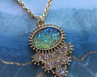 Sparkling Turquoise Blue and Rhinestone Pendant, Blue Pendant, Trending Item, Statement Necklace, Gift For Her