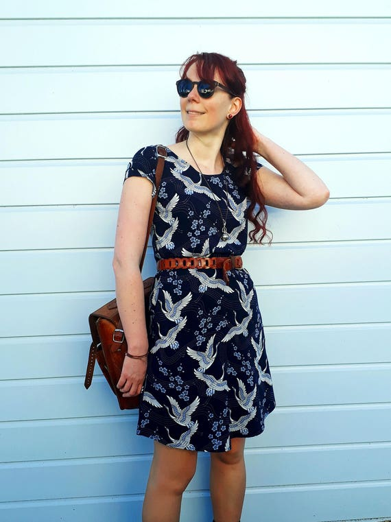 The Ziggy loose fit tunic dress with pockets in navy cranes print