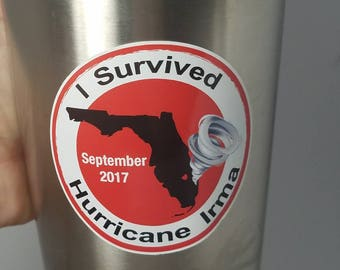 "I Survived Hurricane Irma Stickers 2.5"" Round Florida Hurricane Irma Labels Hurricane Irma Yeti Decals 2.5"" Hurricane Irma Decals"