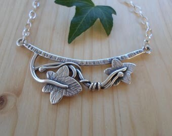Ivy leaf jewelry etsy ivy leaf branch sterling silver necklace woodland jewelry ivy leaf pendant nature jewelry mozeypictures Image collections