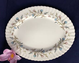 A vintage Royal Albert Brigadoon fine bone china oval platter, decorated with pastel thistles. c1980s.