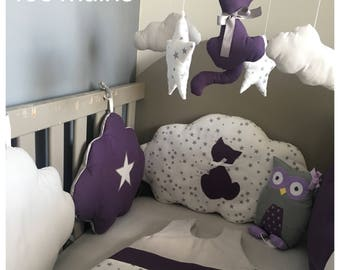 Musical baby mobile with purple cat, White Star printed stars and clouds