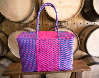 LARGE Oaxaca Bag, Woven Plastic Bag, Mexican Bag, Multicolor Basket