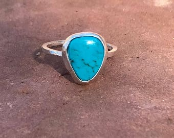 One of a kind genuine American Turquoise Sterling Silver ring, Handmade, recycled Sterling silver.