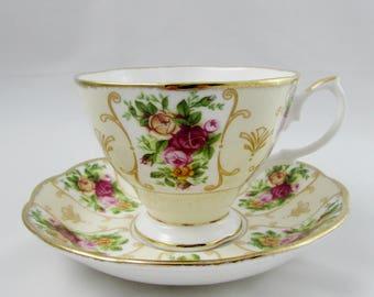 Royal Albert Tea Cup and Saucer, Rose Cameo Peach, English Bone China