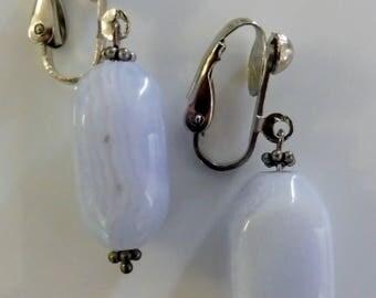 Clip on earrings-blue earrings-gemstone earrings-semiprecious earrings-silver-handcrafted-one-off-blue lace agate