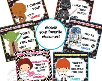 "Valentine's Star War 2.5"" Printable Tags-Happy Valentines Personalized Tags, Star Wars Characters - Valentine (You Print) 2.5"" tags"