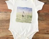 Organic Cotton Linen Baby Onesie, Shark Fin, Eco-Friendly Apparel