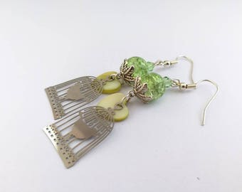 Earrings, green, with bird cage ref 410