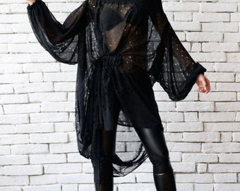 NEW Black Chiffon Loose Tunic/Extravagant Torn Effect Top/Plus Size Transparent Top/Extravagant Summer Tunic/Black Maxi Top/Sheer Blouse