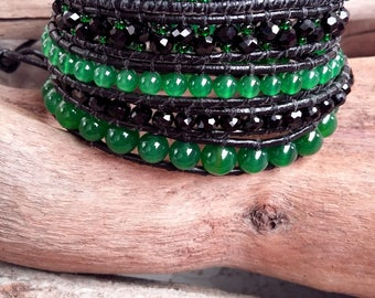 Bracelet cuff wrap 5 turns, leather, black and green, crystal, Agate, glass, Boho jewelry, By Dodie