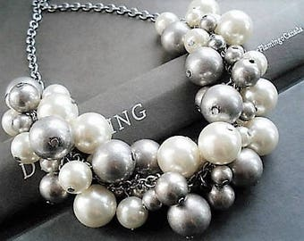 White Pearl Necklace Statement Jewelry Silver Necklace Pearl Jewelry Chunky Necklace Bohemian Jewelry Bib Necklace Beaded Jewelry Gift Idea