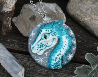 White Star Dragon Medallion - dragon amulet - dragon necklace - dragon jewelry - targaryen dragon - ice dragon - white blue dragon - ooak