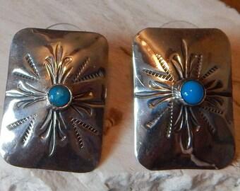 Sterling   turquoise earrings,,  southwestern  womens  earrings  old pawn  vintage jewelry  estate jewelry  womens  horse  Texas  tribal