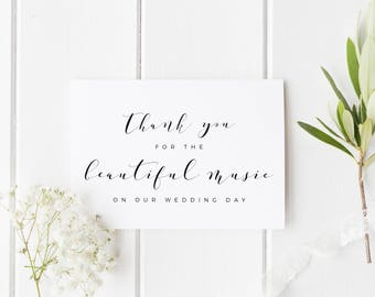 Thank You For The Beautiful Music Card, Wedding Band Thank You Card, Wedding Vocalist Thank You Card, Wedding Choir Thank You, Card For DJ