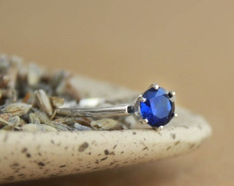 Blue Sapphire Solitaire in Sterling - Silver Vintage-Style Engagement Ring, Promise Ring, or September Birthstone - Something Blue