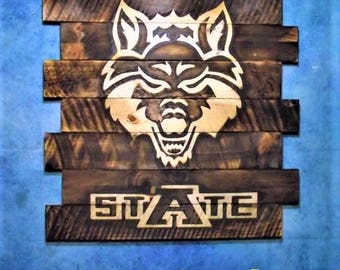 Arkansas State Red Wolves~with stAte letters below~Team sign, FREE UV protector,30x23, Burnt wall hanging,u Su Shogi Ban, Charred wood