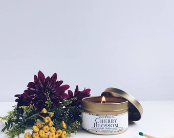 CHERRY BLOSSOM Soy Candle | Candle Tin | Travel Candle