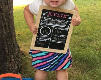 First Day of School Chalkboard - Reusable Custom Peronalized Child Chalkboard -- Dual Sided - From Baby thru School Years