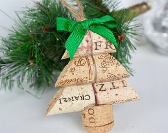 Christmas Tree Wine Cork Ornament