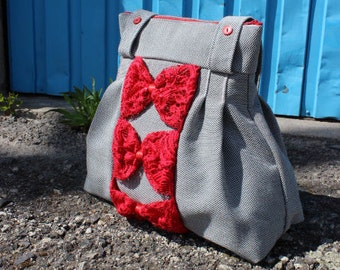 Gift for Her, Girlfriend Gift, Upcycled Handbag, Red Bows, Summer Handbag, Valentines Day Gift, Bag, Handbag, Red, Chic, Grey Handbag, Bows