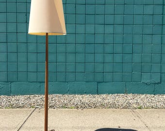 Danish Modern | George Kovacs Oak Tapered Floor Lamp | Mid Century