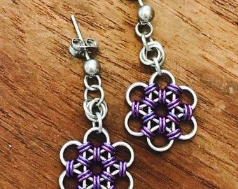 Chainmaille Japanese Flower Purple Earrings Stainless Steel