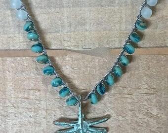 "Dragonfly crochet necklace-boho crochet necklace- ""beach glass"" Czech glass, layering crocheted necklace, beachy bohemian crochet jewelry"