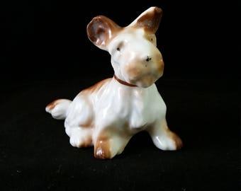 Vintage White/Brown Terrier Figurine
