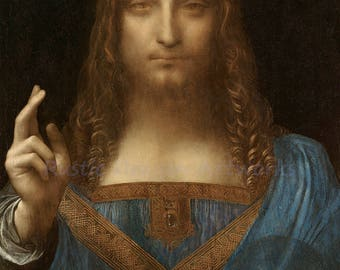 "Leonardo Da Vinci ""Salvator Mundi"" Jesus c1519 Reproduction Digital Print Christianity Jesus Christ Religion"