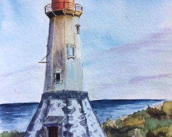 Watercolor lighthouse, original watercolor, lighthouse painting, home decor, watercolor art