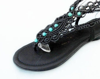 Women's Sandals,  Lace up Sandals with turquoise, macrame Sandals, Leather Sandals, Boho Sandals, MODEL: MORNING STAR