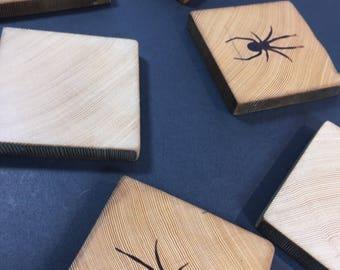 Vintage Wood Coaster Set of 6 Wooden Coasters Spider Emblem Motif Burnished Wood Handmade Item Gift for Him Her Arachnid Lover