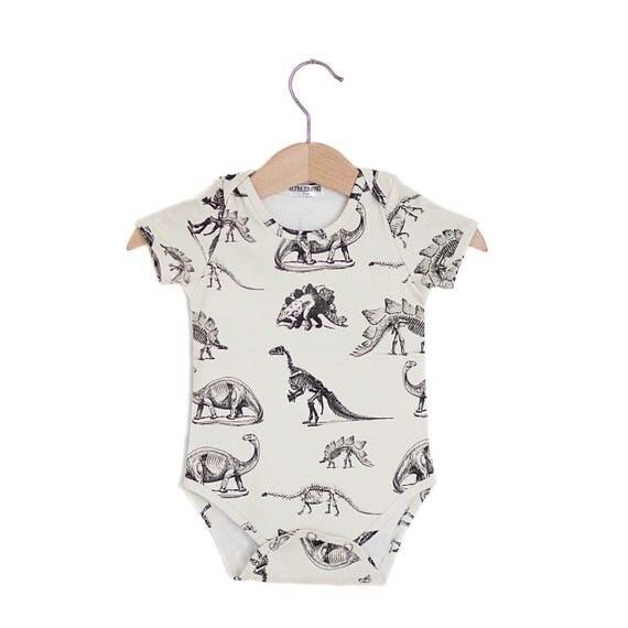 Cream Dinosaur Organic Baby Onesie baby onesie baby