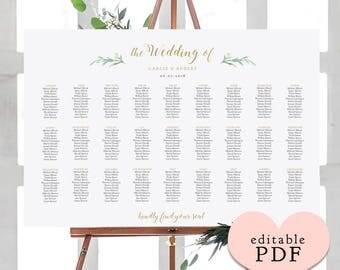Greenery wedding seating chart table plan templates | 9 sizes included | Portrait + Landscape shaped PDF templates included. Edit in ACROBAT