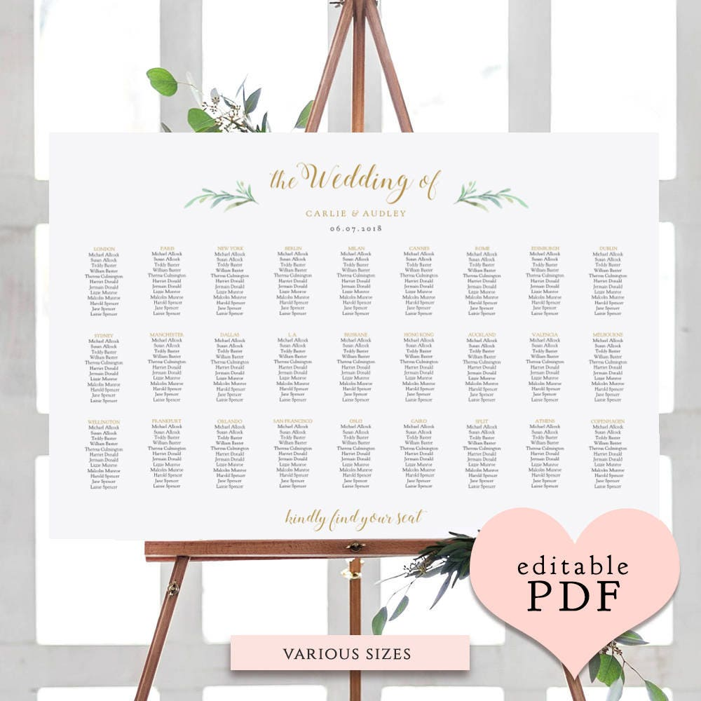 wedding table planner template