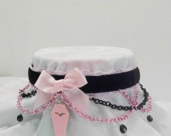 Limited 'Made To Order' Pastel Goth Creepy Cute Coffin Velvet Chain Choker