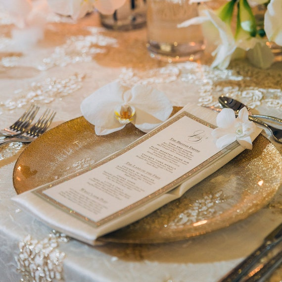 Glitter Menu - Gold Glitter Wedding Menu - Vertical Menu