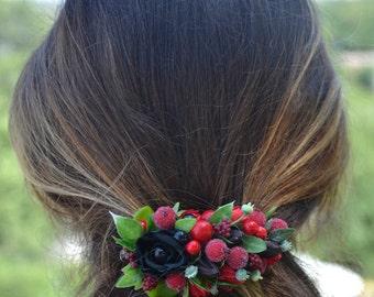 Red flower hair clip Black hair accessory Bridal hair piece Red flower headpiece Black flower hair clip Flower barrette Summer accessory