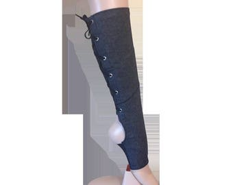 Denim Vegan Friendly Trapeze Boots and Aerial Artist Gaiters for Aerial Hoop Lyra, Silks, Rope, Chains and More